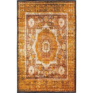 World Menagerie Bolton Ivory/Orange Area Rug; 5' x 8'