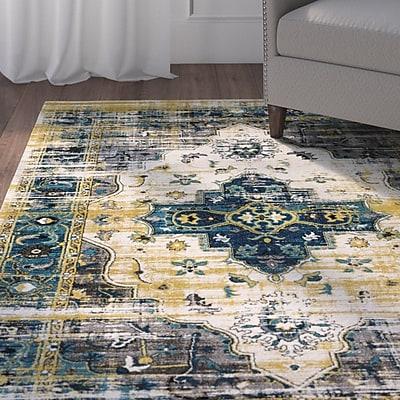 Bungalow Rose Koh Blue/Black Area Rug; 7'11'' x 10'