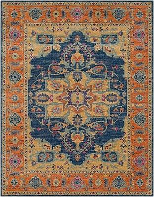 Bungalow Rose Andover Blue/Orange Area Rug; 7'10'' x 10'3''
