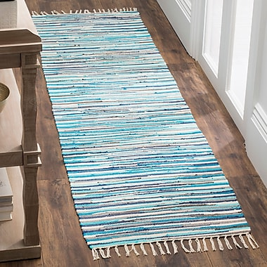 Bungalow Rose Samia Hand-Woven Blue Area Rug; Rectangle 2'6'' x 4'