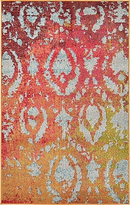 Bungalow Rose Aquarius Rust Red Area Rug; 9' x 12'