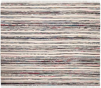 Bungalow Rose Sanchaya Hand-Woven Ivory/Charcoal Area Rug; Square 6'
