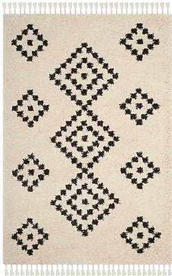 Bungalow Rose Morgan Black/Beige Area Rug; Square 6'7''