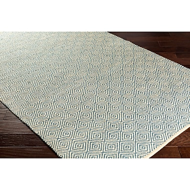 Bungalow Rose Waverly Hand-Woven Green/Black Area Rug; 5' x 7'6''