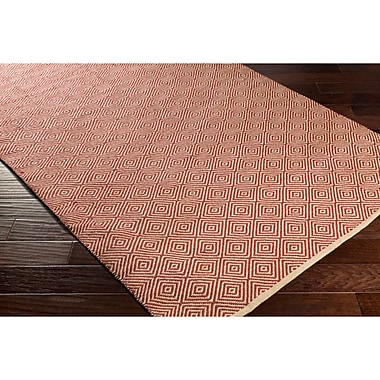 Bungalow Rose Waverly Hand-Woven Neutral/Red Area Rug; 5' x 7'6''