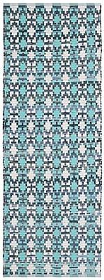 Bungalow Rose Saleem Hand-Woven Turquoise Area Rug; Runner 2'3'' x 6'