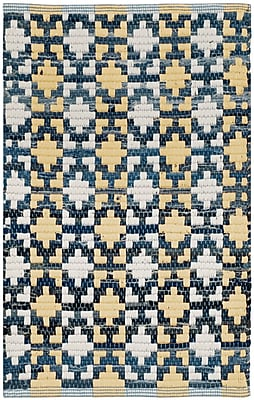 Bungalow Rose Saleem Hand-Woven Gold/Navy Area Rug; Runner 2'3'' x 6'