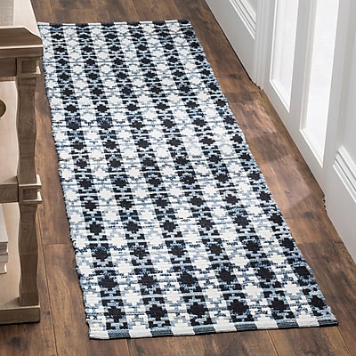 Bungalow Rose Saleem Hand-Woven Ivory Blue/Black Area Rug; Runner 2'3'' x 6'