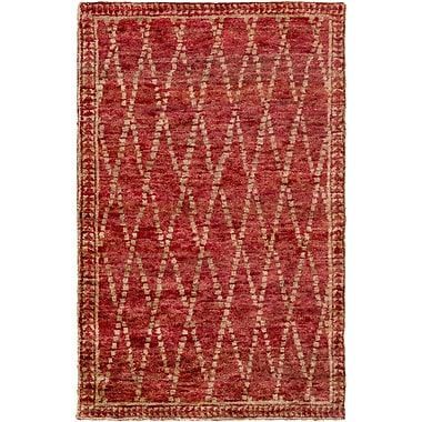 Bungalow Rose Elvera Hand-Knotted Red/Neutral Area Rug; 2' x 3'