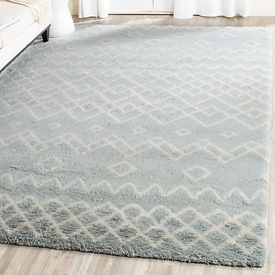 Bungalow Rose Cosima Hand-Knotted Blue/Ivory Area Rug; 4' x 6'
