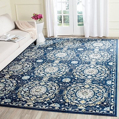Bungalow Rose Bissen Navy/Ivory Area Rug; 4' x 6'