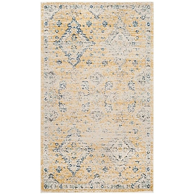 Bungalow Rose Ameesha Mustard/Ivory Area Rug; Square 6'7''