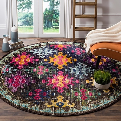 Bungalow Rose Crosier Green/Pink Area Rug; 6'7'' x 9'2''