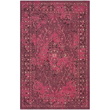 Bungalow Rose Port Laguerre Fuchsia/Black Area Rug; 5' x 8'