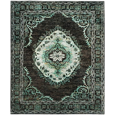 Bungalow Rose Velsen Hand-Knotted Chocolate/Aqua Area Rug; 8' x 10'