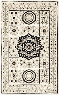 Bungalow Rose Hawke Hand-Knotted Ivory/Gray Area Rug; 2' x 3'
