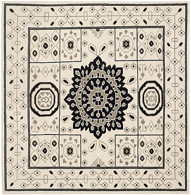Bungalow Rose Hawke Hand-Knotted Ivory/Gray Area Rug; Square 7'