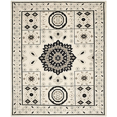 Bungalow Rose Hawke Hand-Knotted Ivory/Gray Area Rug; 9' x 12'