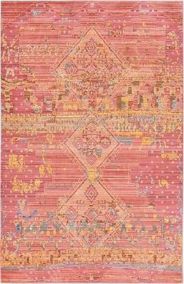Bungalow Rose Rune Peach Area Rug; 5' x 8'