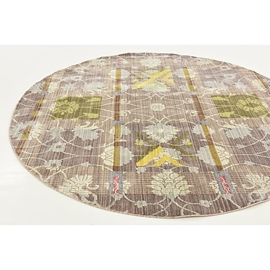Bungalow Rose Rune Brown Area Rug; Round 6'