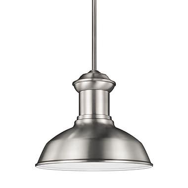 Longshore Tides Elianna 1-Light Outdoor Pendant; Satin Aluminum