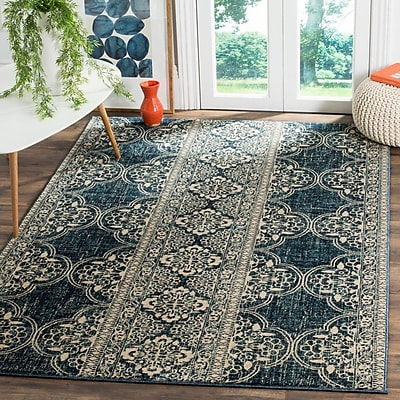 Bungalow Rose Ferry Royal/Ivory Area Rug; 4' x 6'