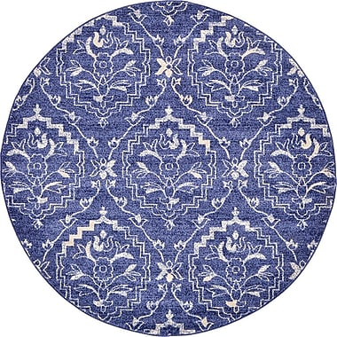 Bungalow Rose Ezequiel Blue Area Rug; Round 6'