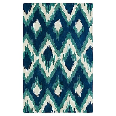 Bungalow Rose Powers Lake Blue & Green Area Rug; 3'6'' x 5'6''