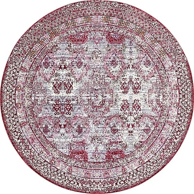 Bungalow Rose Center Red/Pink Area Rug; Round 8'
