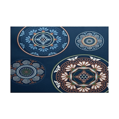 Bungalow Rose Soluri Blue Indoor/Outdoor Area Rug; 2' x 3'