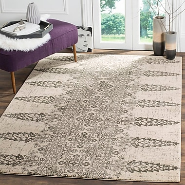 Mistana Elson Ivory/Silver Area Rug; Square 6'7''