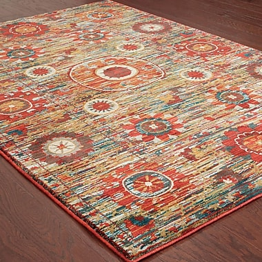 Bungalow Rose Aydan Tribal Red/Green Area Rug; 6'7'' x 9'6''