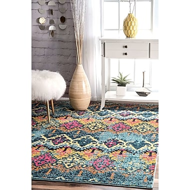 Bungalow Rose Chandler Blue/Yellow Area Rug; 4' x 6'