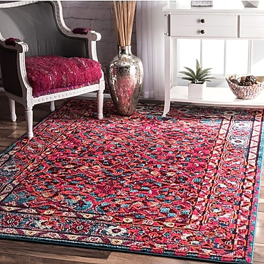 Bungalow Rose Malcolm Pink Area Rug; 5'3'' x 7'7''