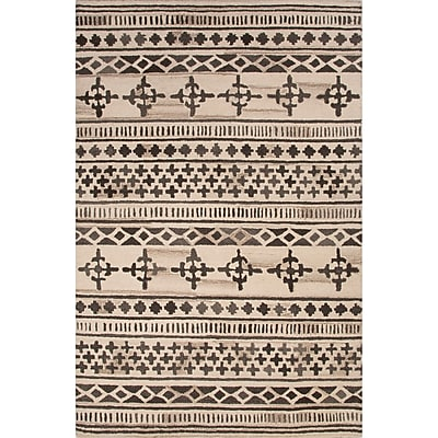 Bungalow Rose Harley Hand-Tufted Brown/Ivory Area Rug; 2' x 3'