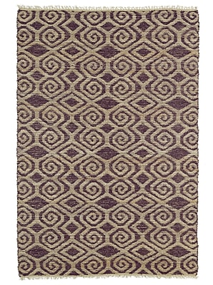 Bungalow Rose Saint-Joseph Tan and Plum Area Rug; 2' x 3'
