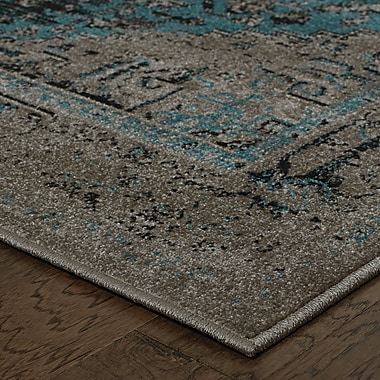 Bungalow Rose Raiden Grey/Teal Area Rug; 3'10'' x 5'5''
