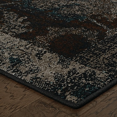 Bungalow Rose Raiden Charcoal/Brown Area Rug; 7'10'' x 10'10''