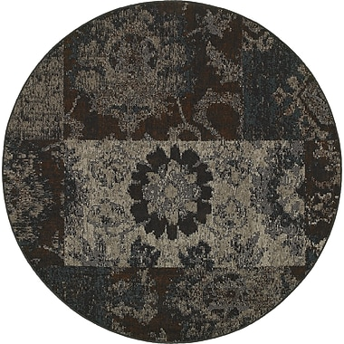 Bungalow Rose Raiden Charcoal/Brown Area Rug; Round 7'8''