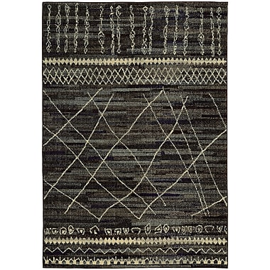 Bungalow Rose Marquis Black/Beige Area Rug; 6'7'' x 9'1''