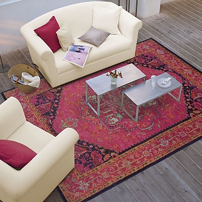 Bungalow Rose Terrell Updated Traditional Pink/Blue Area Rug; 6'7'' x 9'1''