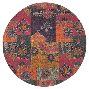 Bungalow Rose Terrell Floral Ikat Multi/Pink Area Rug; Round 7'10''
