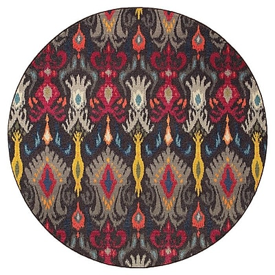 Bungalow Rose Terrell Tribal Ikat Grey/Multi Area Rug; Round 7'10''