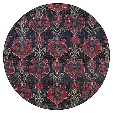 Bungalow Rose Terrell Floral Ikat Gray/Pink Area Rug; Round 7'10''