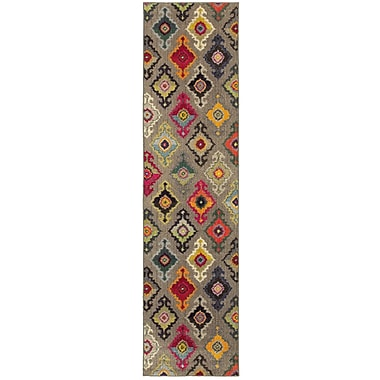 Bungalow Rose Terrell Tribal Gray/Pink Area Rug; 5'3'' x 7'6''