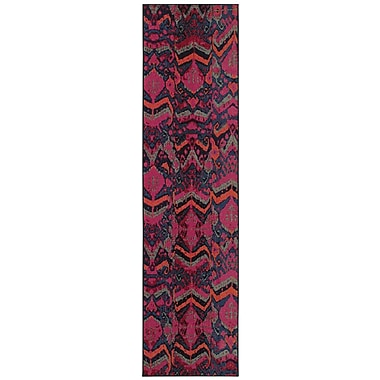 Bungalow Rose Terrell Tribal Blue/Pink Area Rug; 5'3'' x 7'6''