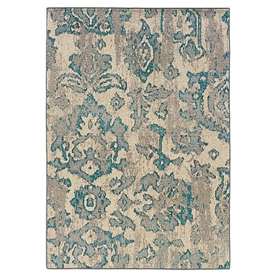 Bungalow Rose Terrell Floral Blue/Gray Area Rug; 10'10'' x 7'10''