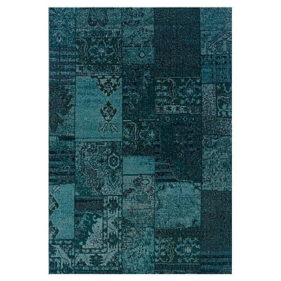 Bungalow Rose Raiden Teal/Gray Area Rug; 5'3'' x 7'6''