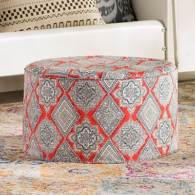 Bungalow Rose 24'' Round Pouf Outdoor Ottoman Cushion in Coral