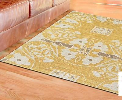 Bungalow Rose Mikonos Hand-Loomed Yellow Area Rug; 4' x 6'
